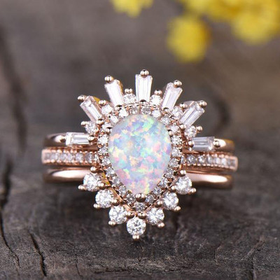 Vintage opal Wedding Set