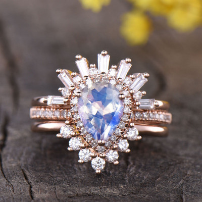 Moonstone Engagement Ring Set-BBBGEM Pear Moonstone Bridal Sets