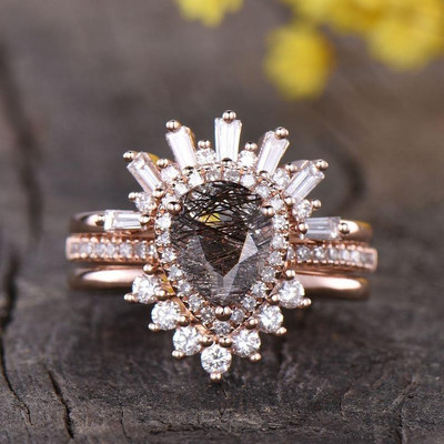 Vintage tourmaline Wedding Set