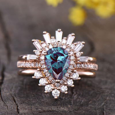 Vintage alexandrite Wedding Set
