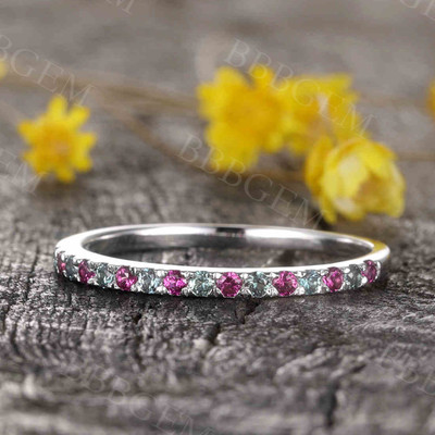 Alexandrite And Ruby Eternity Wedding Band 02