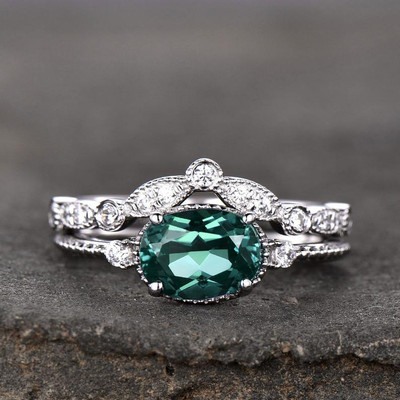 East to west alexandrite enaggement ring set 0