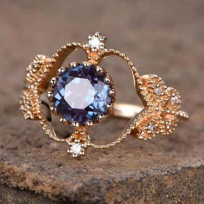 Unique Floral Alexandrite Engagement Ring 0