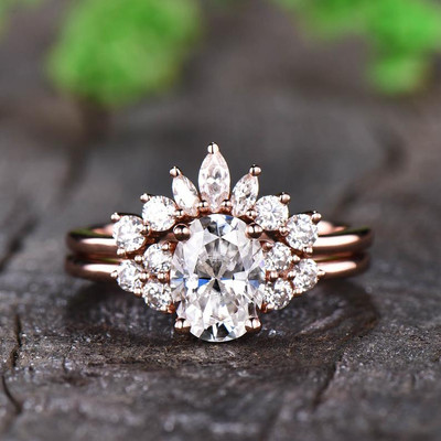 Vintage Moissanite Engagemnt Ring Cluster Diamond 0