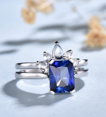 Sapphire Engagement Ring And Moonstone Wedding Band 0
