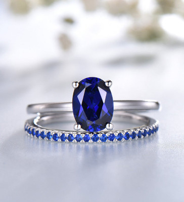 oval sapphire engagement rings set 0