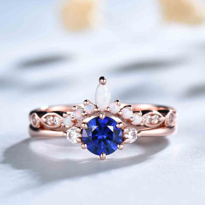 Classic Blue Sapphire Engagement Ring And Opal Stackable Band 0