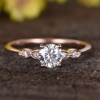 Vintage Moissanite Engagement Ring Rose Gold