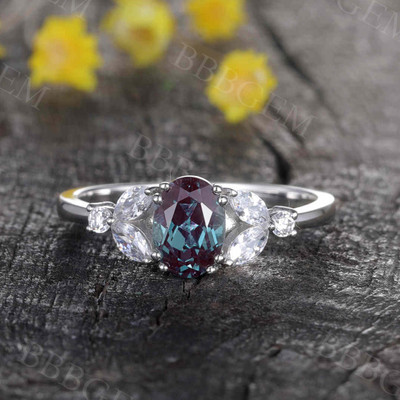 Art Deco Verbena Alexandrite Moissanite Engagement Ring Marquise Antique