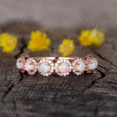 14K/18K Dora Opal Diamond Wedding Band Rose Gold