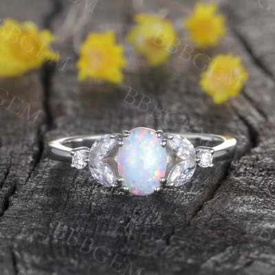 Art Deco Verbena Opal Moissanite Diamond Engagement Ring Marquise Antique
