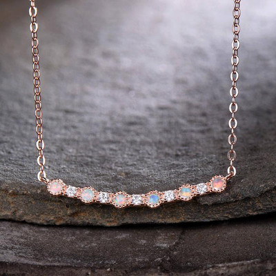 Opal Pendant Pendant Necklace Silver CZ Rose Gold Plated/14K/18K-14 Inches