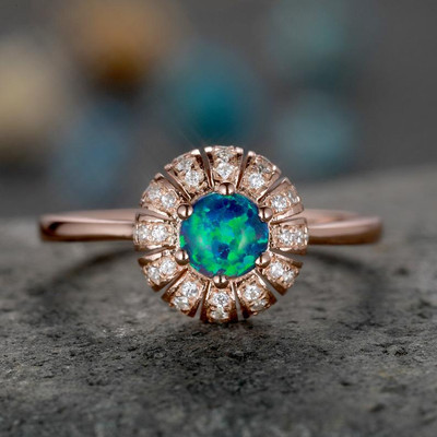 black opal engagement rings