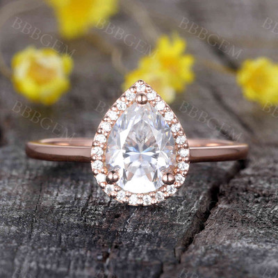 14K/18K Gold Vienna Pear Shaped Moissanite Engagement Ring Halo