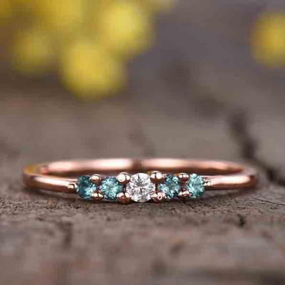 alexandrite and diamond wedding ring 0