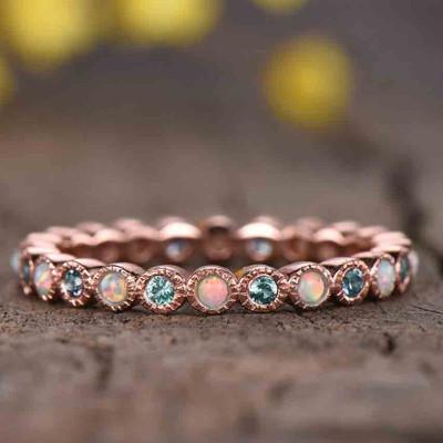 full eternity alexandrite and opal wedding ring 0