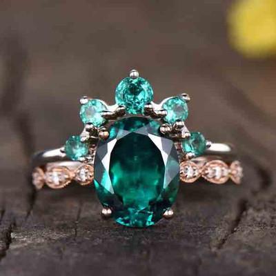 Man Made Emerald Engagement Rings Set-BBBGEM Oval Emerald Engagement Rings