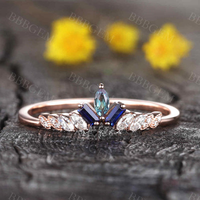 Art Deco Alexandrite  And Baguette Sapphire  Moissanite Wedding Band