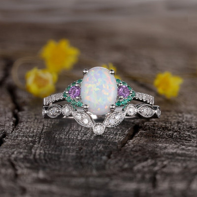 Vintage Opal engagement ring set 0