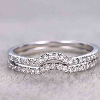 Curved Diamond Wedding Ring 0