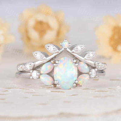 Oval shaped opal ring set white gold diamond matching band bridal set for women