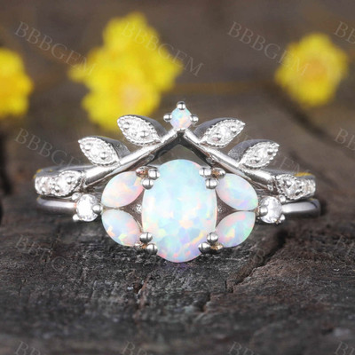 Oval shaped opal ring set white gold diamond matching band bridal set for women