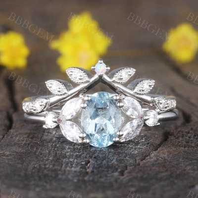 Wedding Ring Set Aquamarine Engagement Ring White Gold Moissanite Matching Band Floral Style