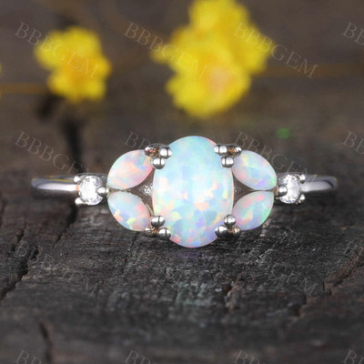 Floral opal engagement ring white gold promise ring for women
