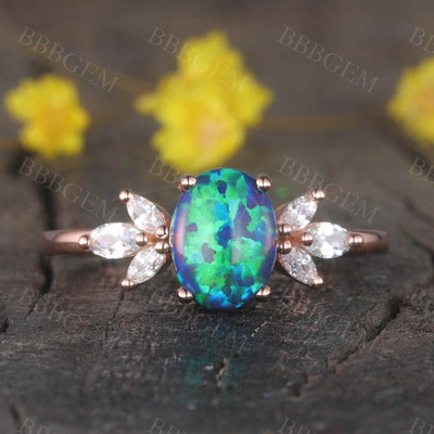 14K/18K  Vintage Black Opal Engagement Ring Moissanite Art Deco Band Promise Jewelry
