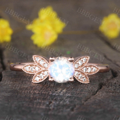 Rainbow Mooonstone Diamond Engagement Ring Rose Gold Unique Bridal Ring