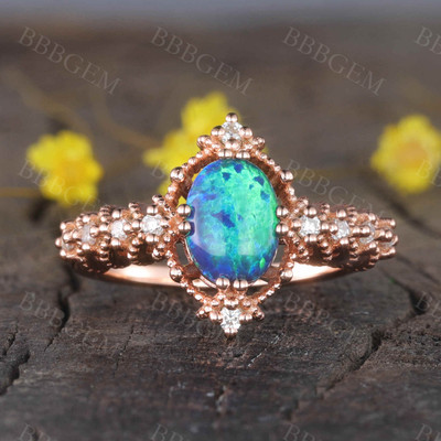 14K/18K  Vintage Black Opal Engagement Ring Diamond Band Promise Jewelry