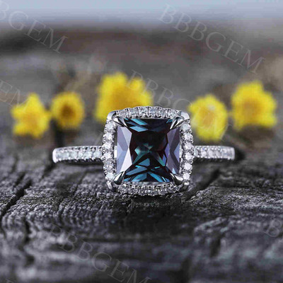 Princess Cut Alexandrite Diamond Engagement Ring 0