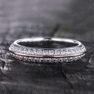 Moissanite Wedding Band Full Eternity Wedding Ring Stacking Ring