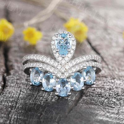 Swiss Blue Topaz Engagement Ring White Gold Bridal Set Promise Anniversary Gift