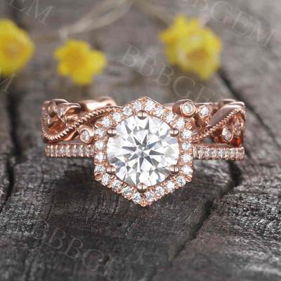 Moissanite Wedding Sets 7mm Round Vintage Diamond Bridal Ring Loop Infinity Stacking Matching Band