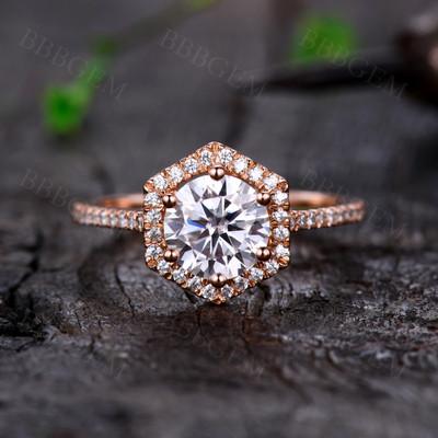 1.25CT Round Halo Moissanite Engagement Ring 14K18K Rose Gold 7mm