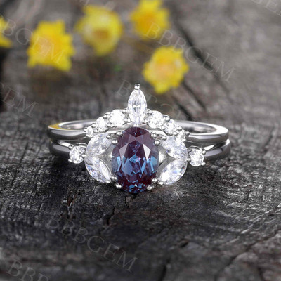 Alexandrite Engagement Ring Set 0
