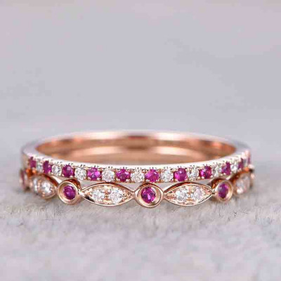 Ruby and Diamond Wedding Band 0
