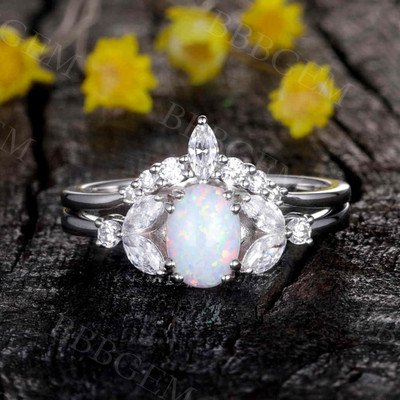Opal Moissanite Engagement Ring 0