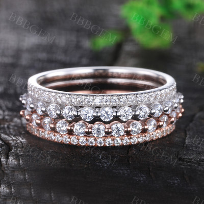 Moissanite Wedding Band Set 0