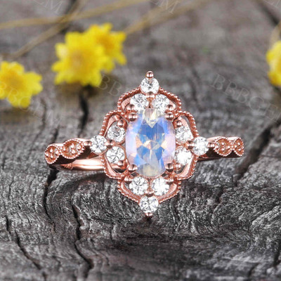 Oval Cut Moonstone Engagement Ring 0