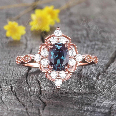 Vintage Filigree Alexandrite Engagement 0