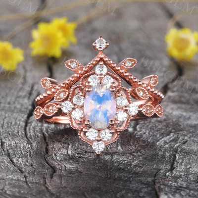 Unique Moonstone Engagement Ring Rose Gold 0