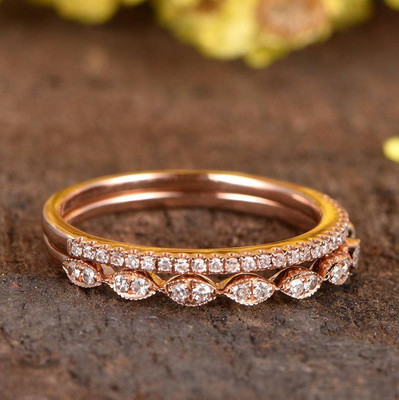 Diamond Wedding Ring Sets Rose Gold Half Eternity 0