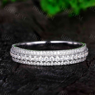 Solid White Gold Moissanite Band Women Wedding Band Rings Three Row Moissanite Ring