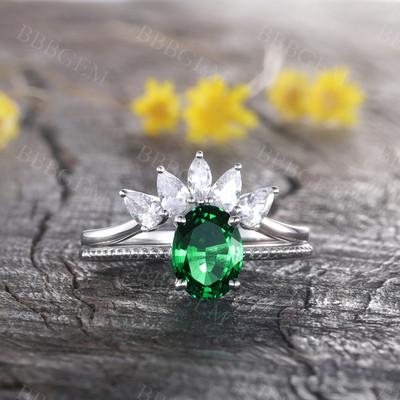 Emerald Engagement Set CZ Curved Stacking Band Bridal Ring Set