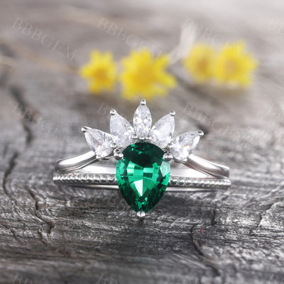 Pear Emerald Ring Marquise Cut Cluster Stacking Band Handmade Jewelry