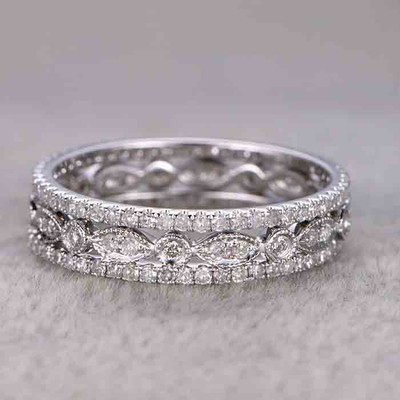 Diamond Wedding Ring Sets White Gold Full Eternity Band 0