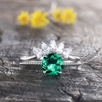 14K White Gold Emerald Wedding Ring Set Round Gemstone Ring CZ Diamond Wedding Band