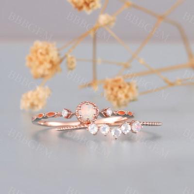 Rose Gold Opal Ring Set Moonstone Wedding Band Round Opal Ring Bridal Set